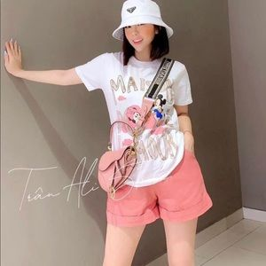 White Shirt and Pink short- 2 pcs set